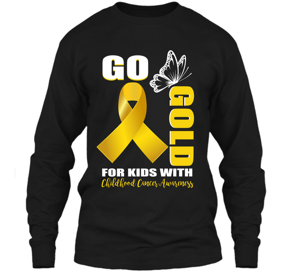 f570f603770 Childhood Cancer Awareness Shirt Go Butterfly-Gold For Kids LS Ultra Cotton  Tshirt