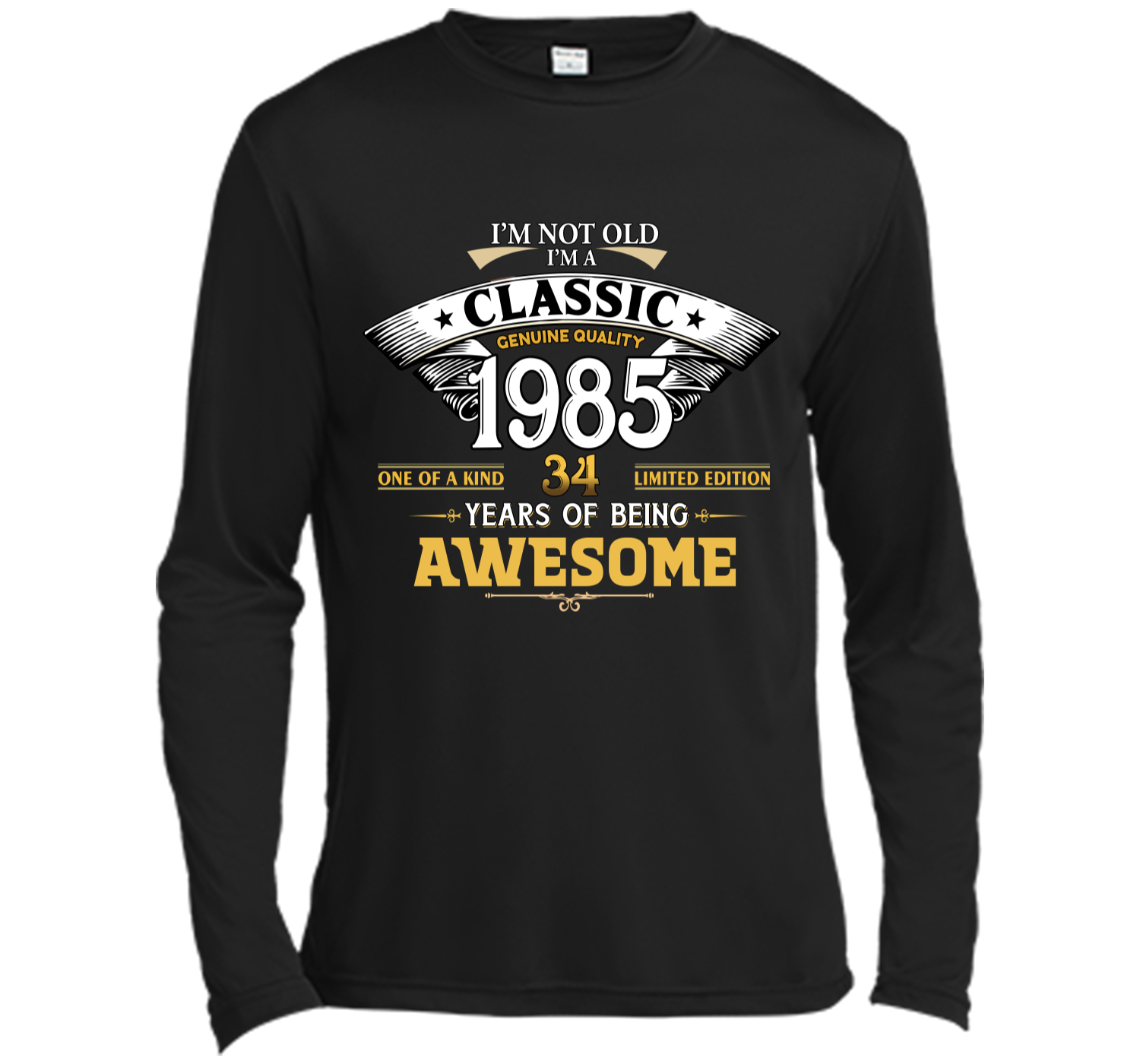 Classic Funny 1985 34th Birthday T Shirts Years Of Awesome Long Sleeve Moisture Absorbing Shirt