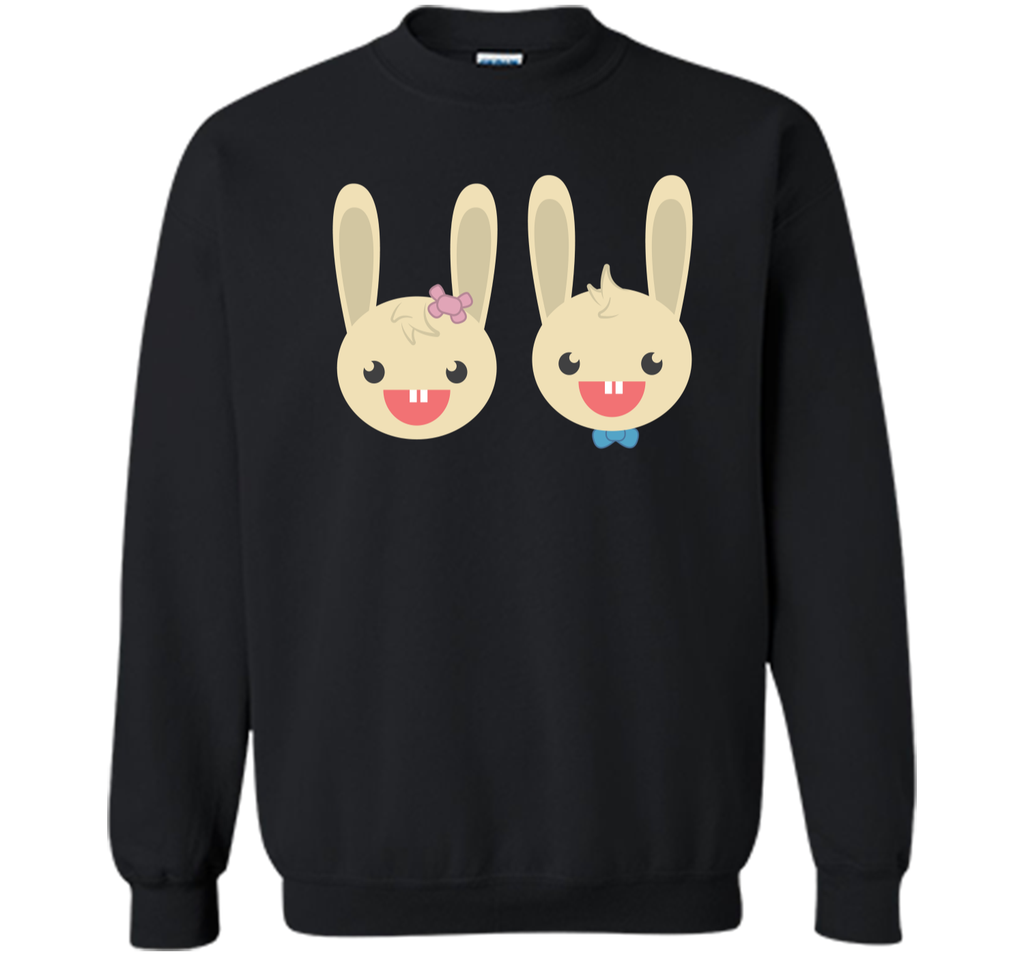 Cute Rabbit Bunny Couple Valentines Day Easter Shirt Printed Crewneck Pullover Sweatshirt 8 oz