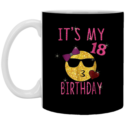 Cute Emoji 18 Years Old Its My 18th Birthday Gift 11 oz Mug