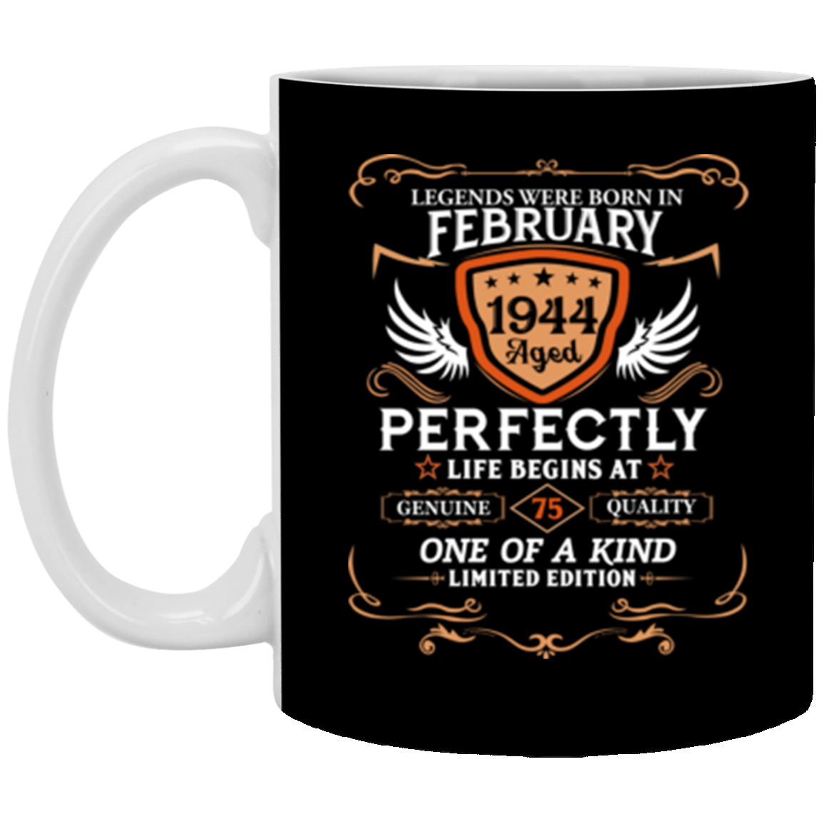February 1944 75th Birthday Gift 75 Year Old For Men Women Mug Coffee 11 Oz