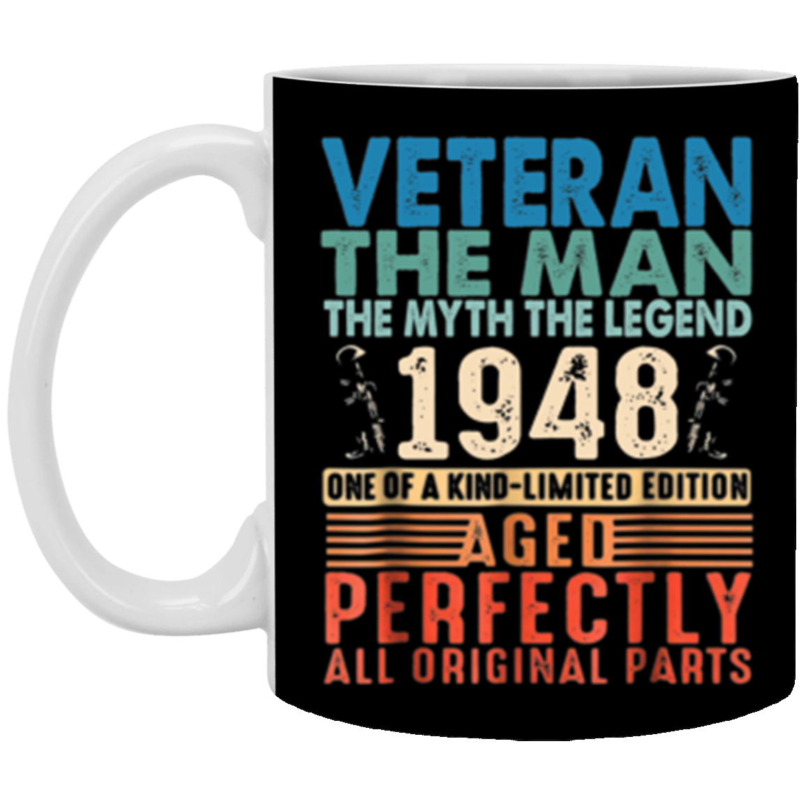 Mens 70 Years Old 1948 Veteran 70th Birthday Decorations Mug Coffee 11 Oz