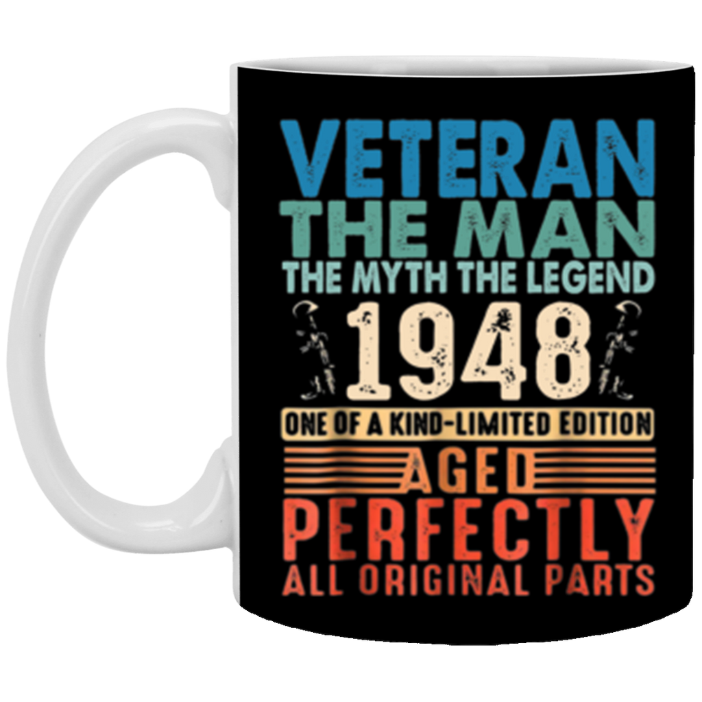 Mens 70 Years Old 1948 Veteran 70th Birthday Decorations Mug Coffee Mug 11 oz Mug