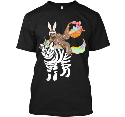 Egg Basket Easter Sloth Riding A Zebra Cat Unicorn Shirt Custom Ultra Cotton