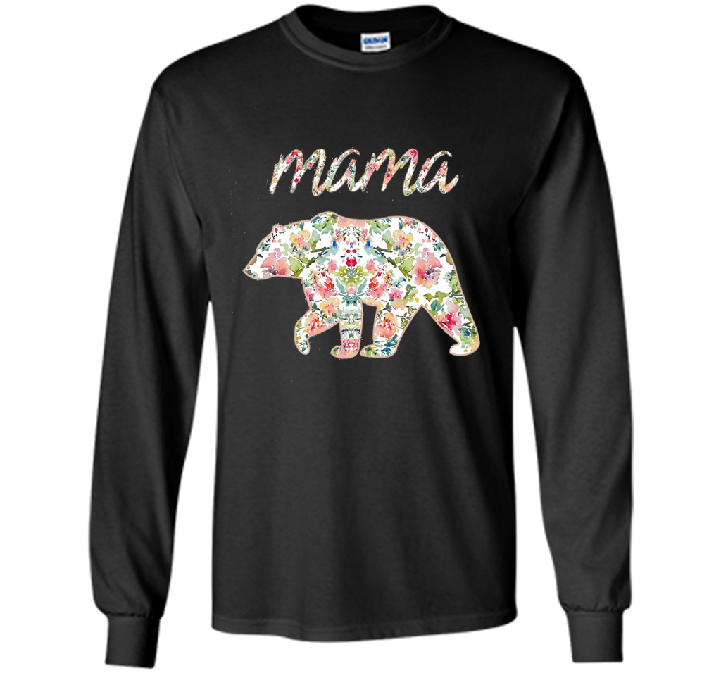 Mama Bear Floral Tee, Mom Graphic T-Shirt, Matching Family cool shirt