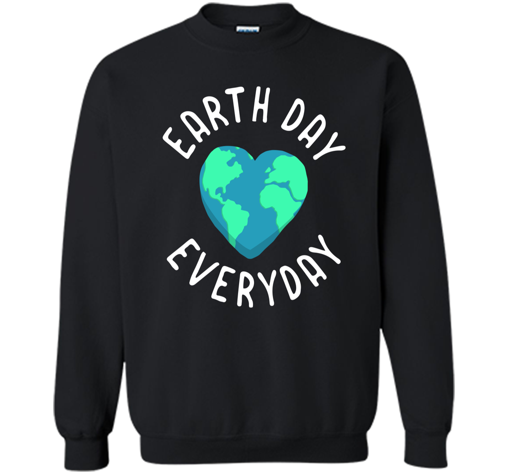 Mens Funny Earth Day Shirt Earth Day Everyday Cute Heart Planet Printed Crewneck Pullover Sweatshirt 8 oz