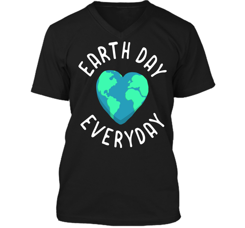 Mens Funny Earth Day Shirt Earth Day Everyday Cute Heart Planet Mens Printed V-Neck T