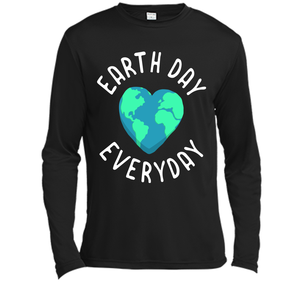 Mens Funny Earth Day Shirt Earth Day Everyday Cute Heart Planet Long Sleeve Moisture Absorbing Shirt