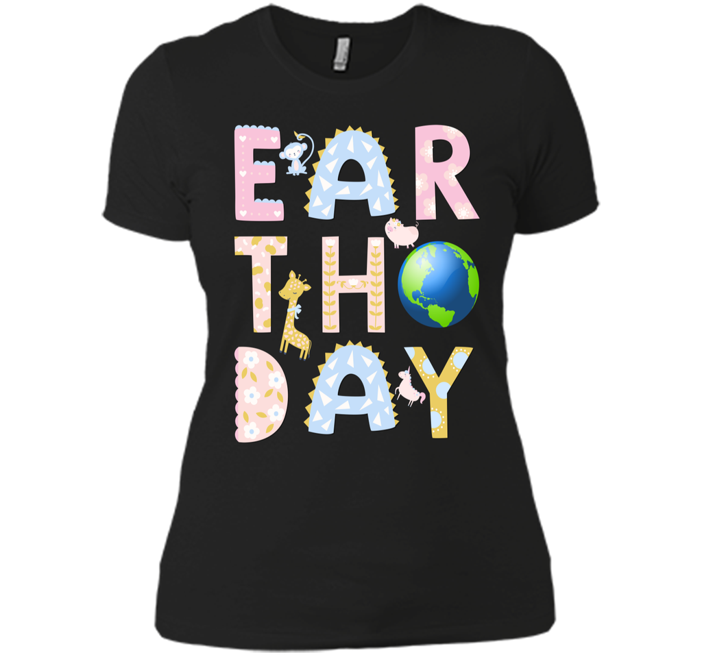 Monkey Giraffe Pig Unicorn Earth Day Shirt For Kids Next Level Ladies Boyfriend Tee