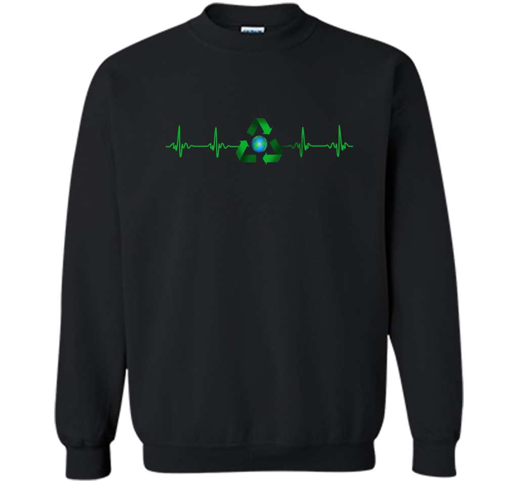 National Earth Day T-Shirt. Heart Beat Earth Day Tee Printed Crewneck Pullover Sweatshirt 8 oz