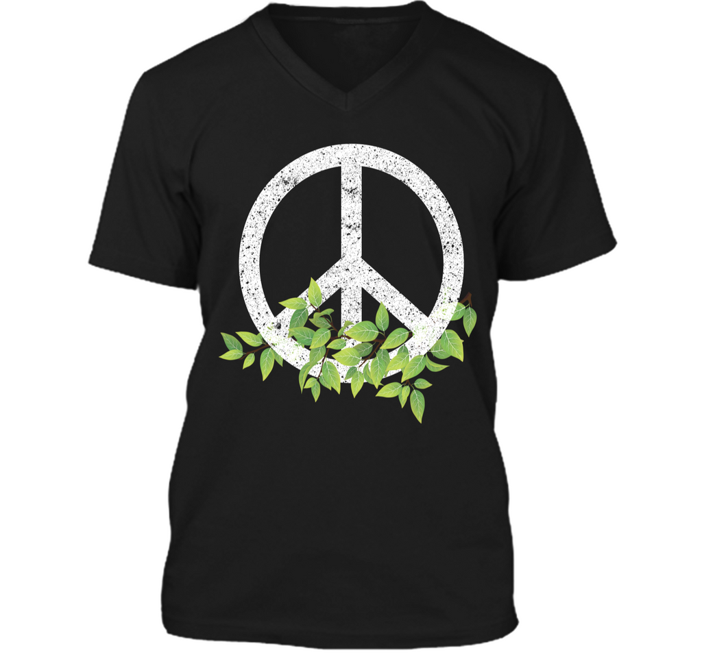 Peace Reduce Reuse Recycle Environmental Earth Day T Shirt Mens Printed V-Neck T