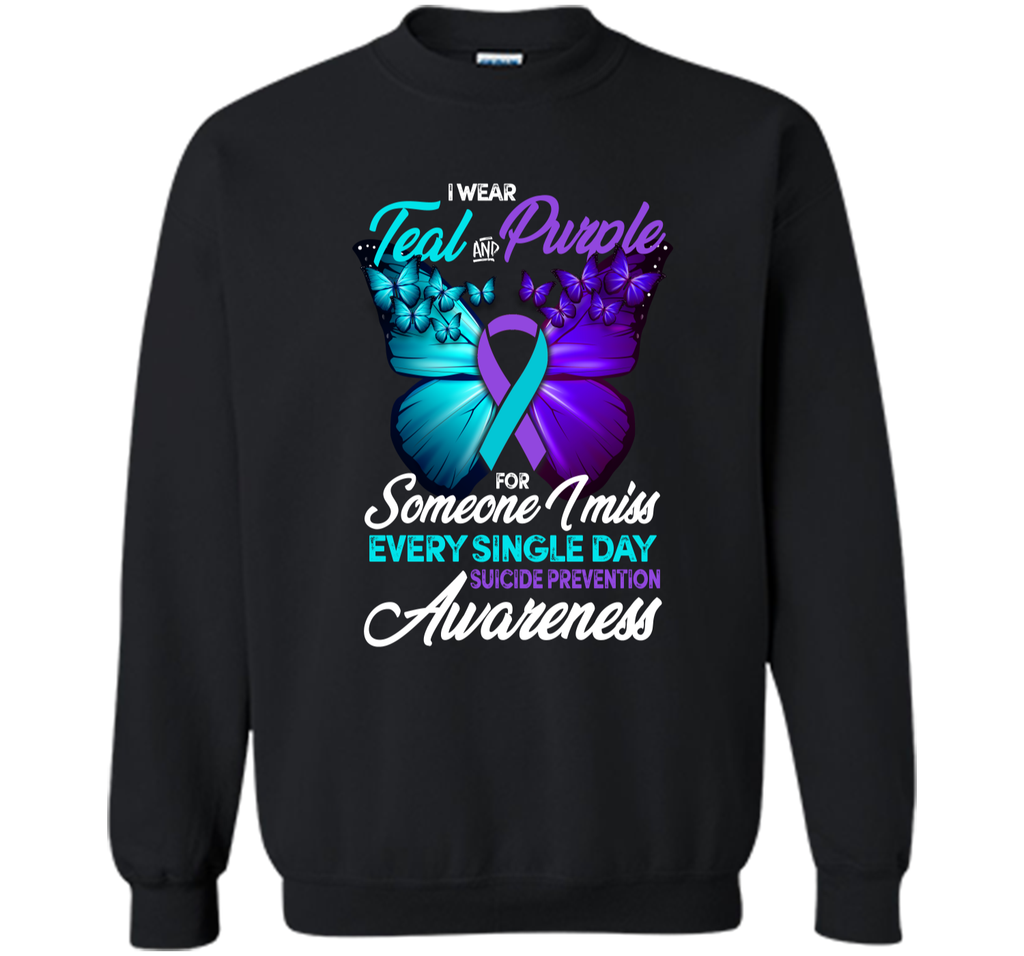 Teal and Purple Ribbon Suicide Prevention Awareness T-shirt Printed Crewneck Pullover Sweatshirt 8 oz