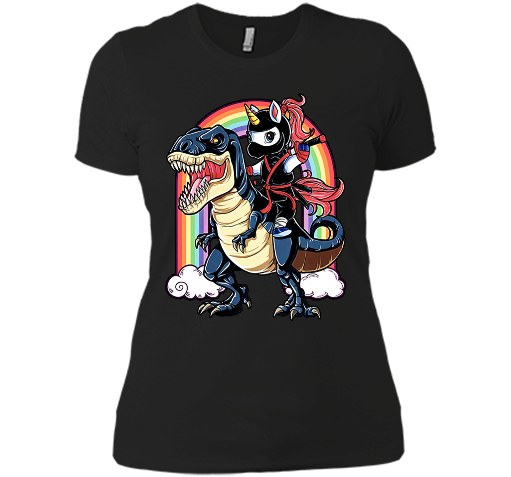 Unicorn Riding Dinosaur Shirt Funny Unicorn Ninja Shirt Next Level Ladies Boyfriend Tee