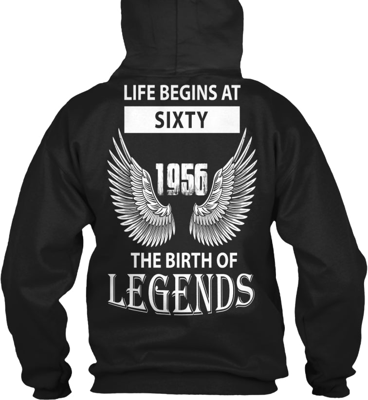 Life Begins At 60 - The Birth Of Legends - Angel Wings Born In 1956 - 60th Birthday Gift T-Shirts