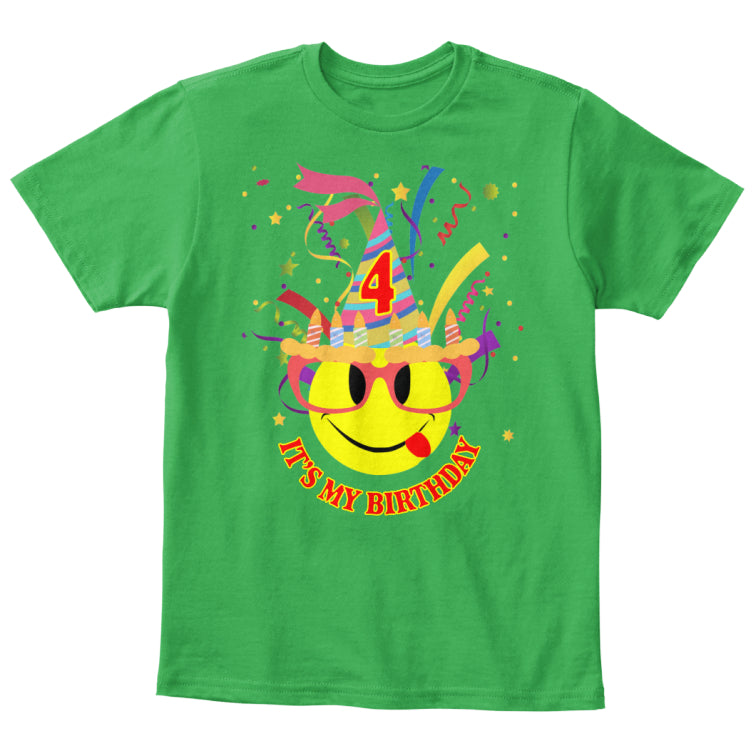 It's My 4th Birthday Kids Emoji T-Shirt