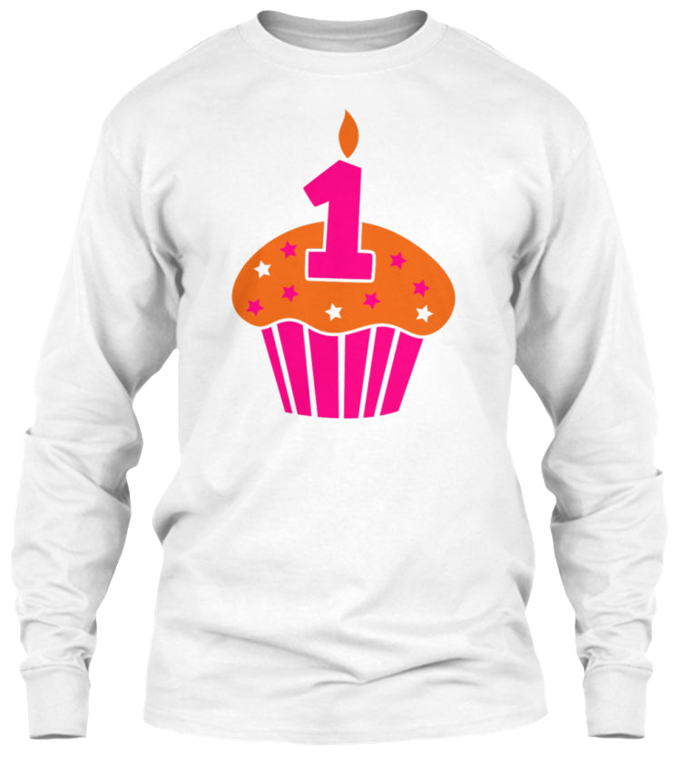 ONE 1 ON A BIRTHDAY CAKE CUPCAKE LONG SL
