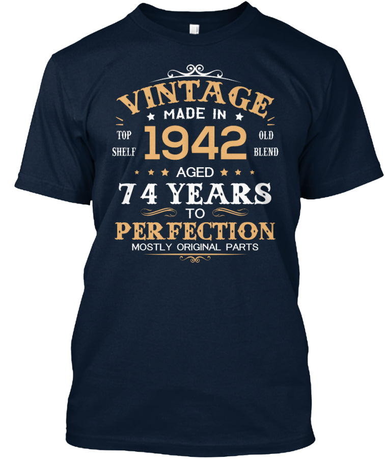 Vintage Made In 1942 Aged 74 Years Tee