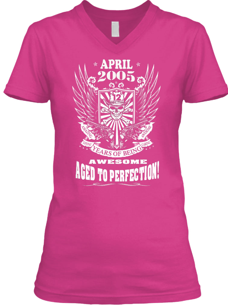 April 2005 - 12 Years Of Being Awesome Aged To Perfection - 12th Birthday Gift T-Shirts