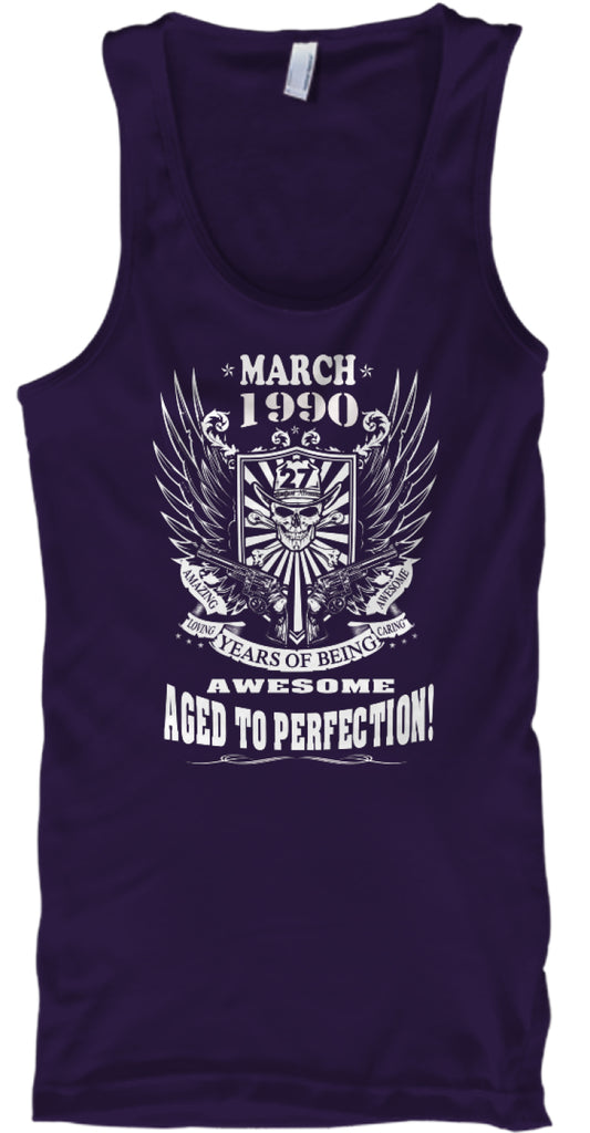 March 1990 - 27 Years Of Being Awesome - Aged To Perfection - 27th Birthday Gift T-Shirt