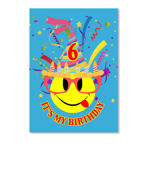 It's My 6th Birthday Kids Emoji T-Shirt