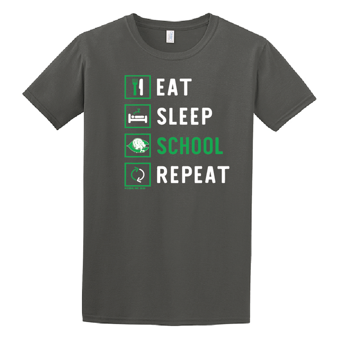 2020 COTTON - Cuero Gobbler Eat, Sleep, School, Repeat Shirt