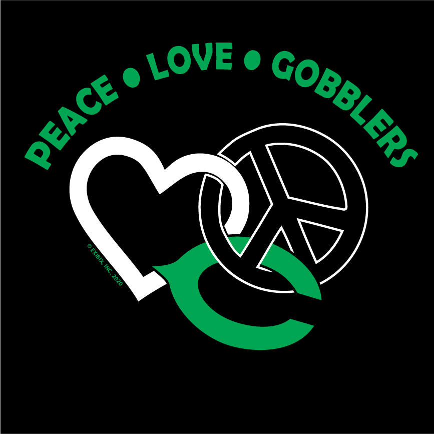 2020 COTTON - Cuero Gobbler Peace, Love, Gobblers Shirt