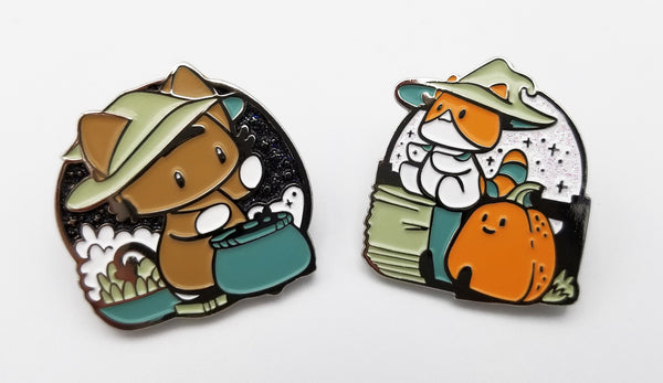 Witchy Kitties Enamel Pin SET