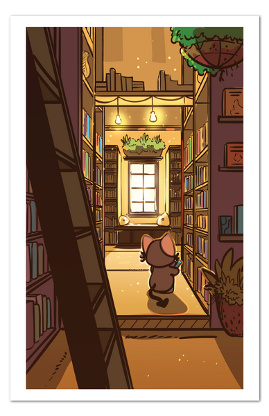 Sunlit Library Print
