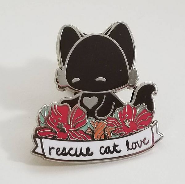 Rescue Cat Love Hard Enamel Pin