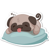 Sleepy Pudge the Pug Vinyl Sticker