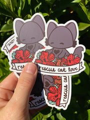 Rescue Cat Love Sticker