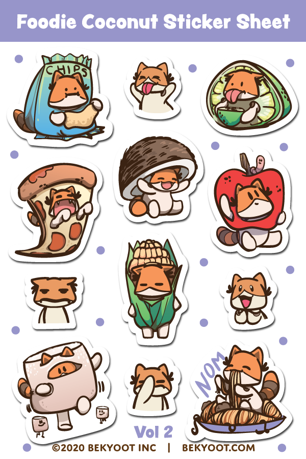 Foodie Coconut Sticker Sheet Volume 2