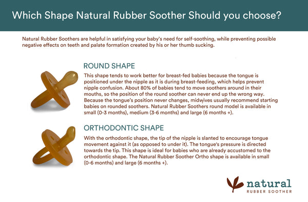 Round or orthodontic Natural Rubber Soother