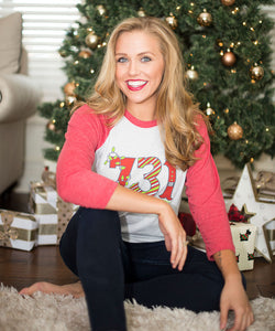 731 Christmas - Red Raglan