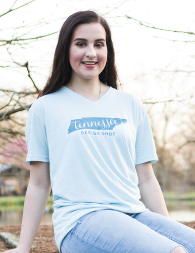 Light Blue V-Neck Logo Tee