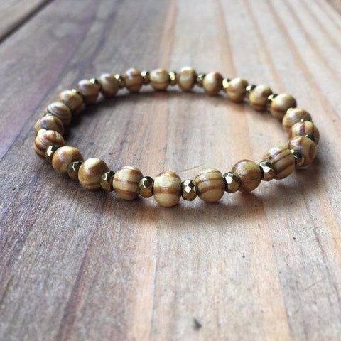 COFFEE DYED WOOD BRACELET | 8MM