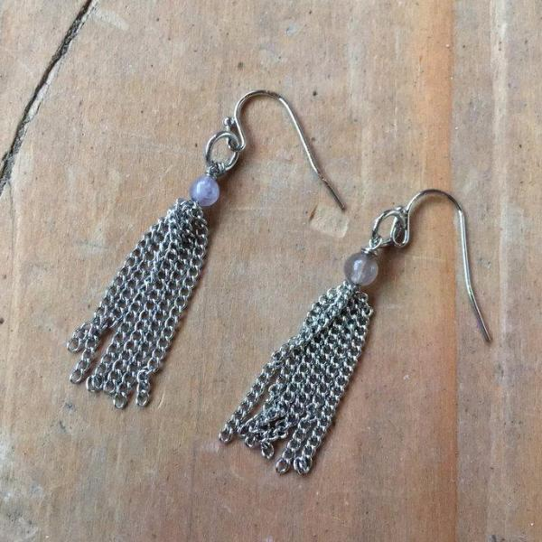 BEAD TASSEL EARRINGS | SILVER | COLOR OPTIONS