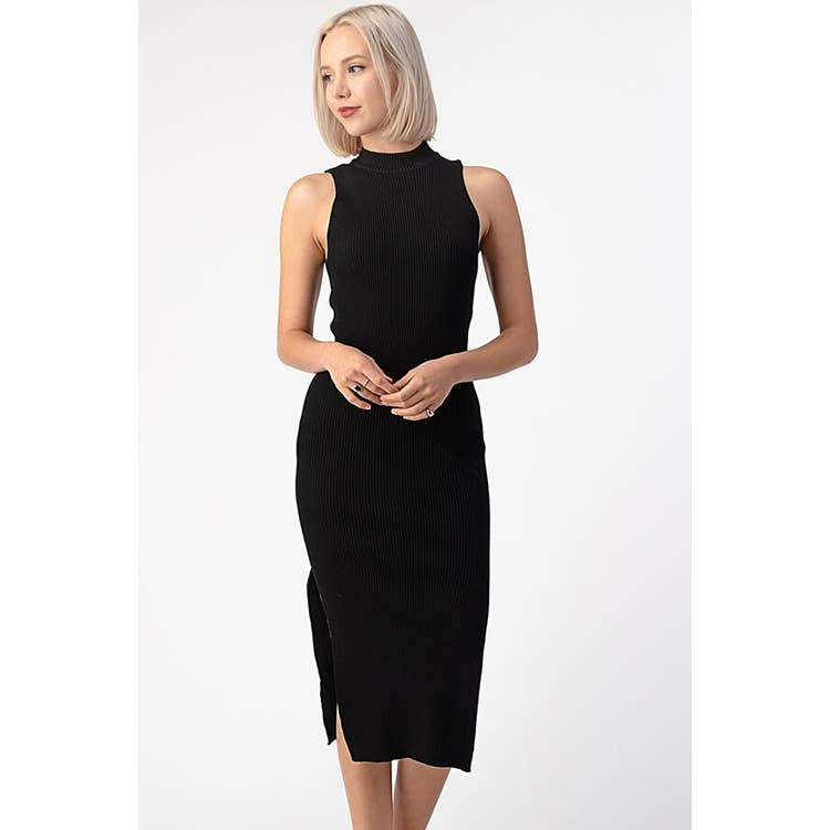 MOCK NECK WITH SLIT DRESS | ASSORTED COLORS