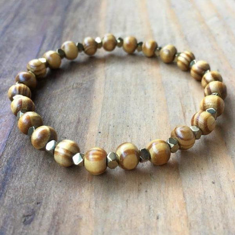 KIDS COFFEE DYED WOOD BRACELET | 8MM