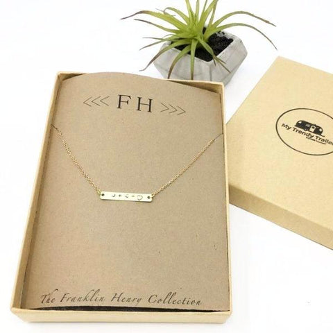 "FH GOLD THIN BAR NECKLACE | 1"" BAR"