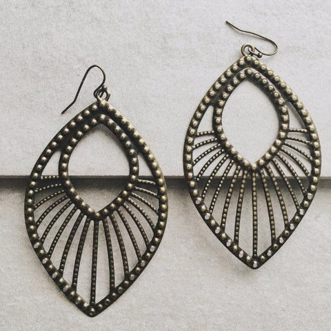 LARGE GUN METAL TWISTED HOOPS