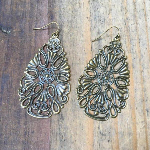 FILIGREE FLOWER DISK EARRINGS | SILVER