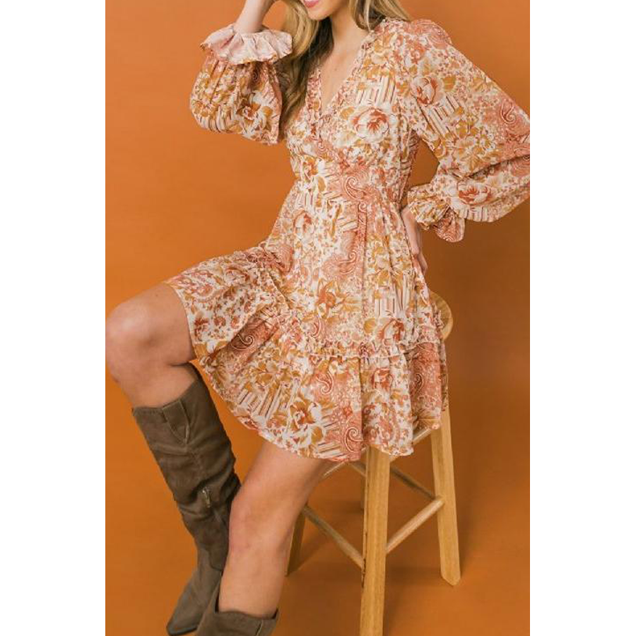 SOLID LONG SLEEVE DRESS WITH PLEATED BODICE