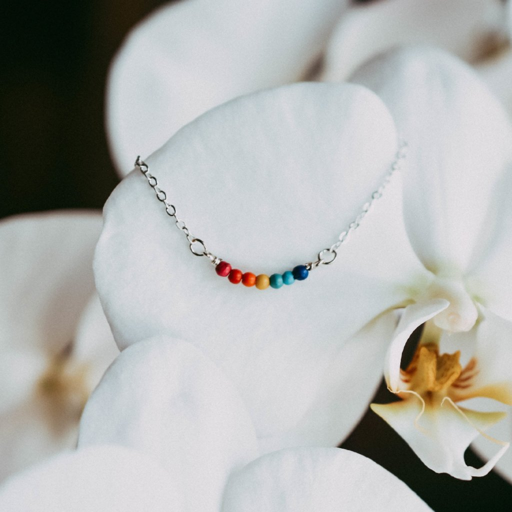 FH RAINBOW AFTER THE STORM BEADED BAR NECKLACE
