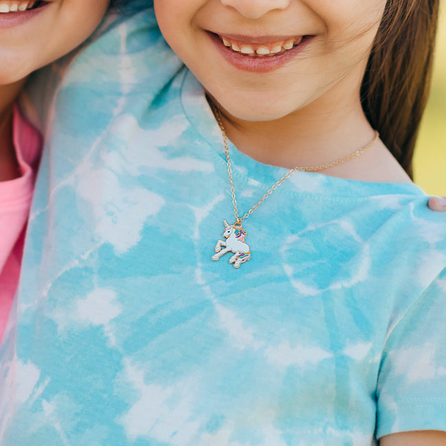 KIDS PRANCING UNICORN NECKLACE | GOLD