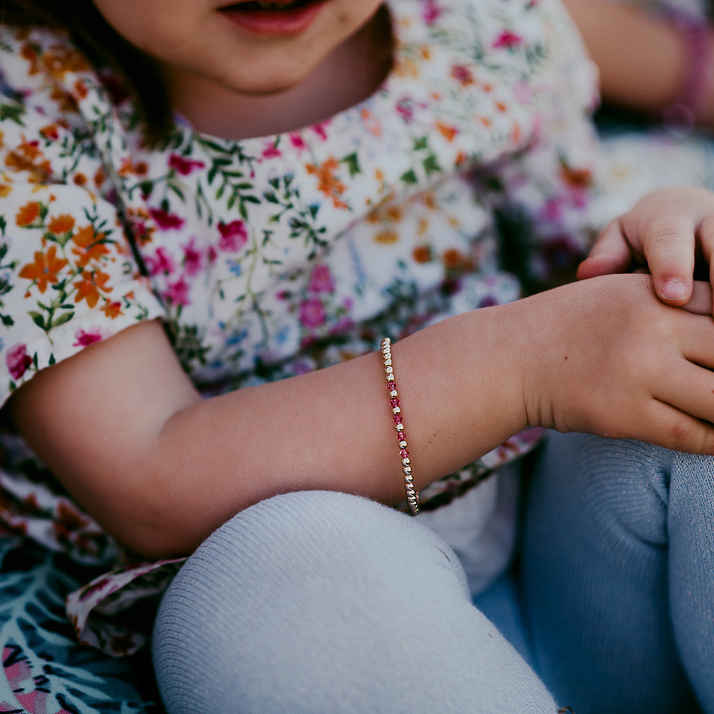 KIDS BIRTHSTONE ACCENTED BRACELETS | 14K GOLD-FILLED | 3MM