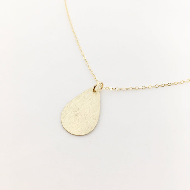 14K GOLD-FILLED BRUSHED DROP NECKLACE