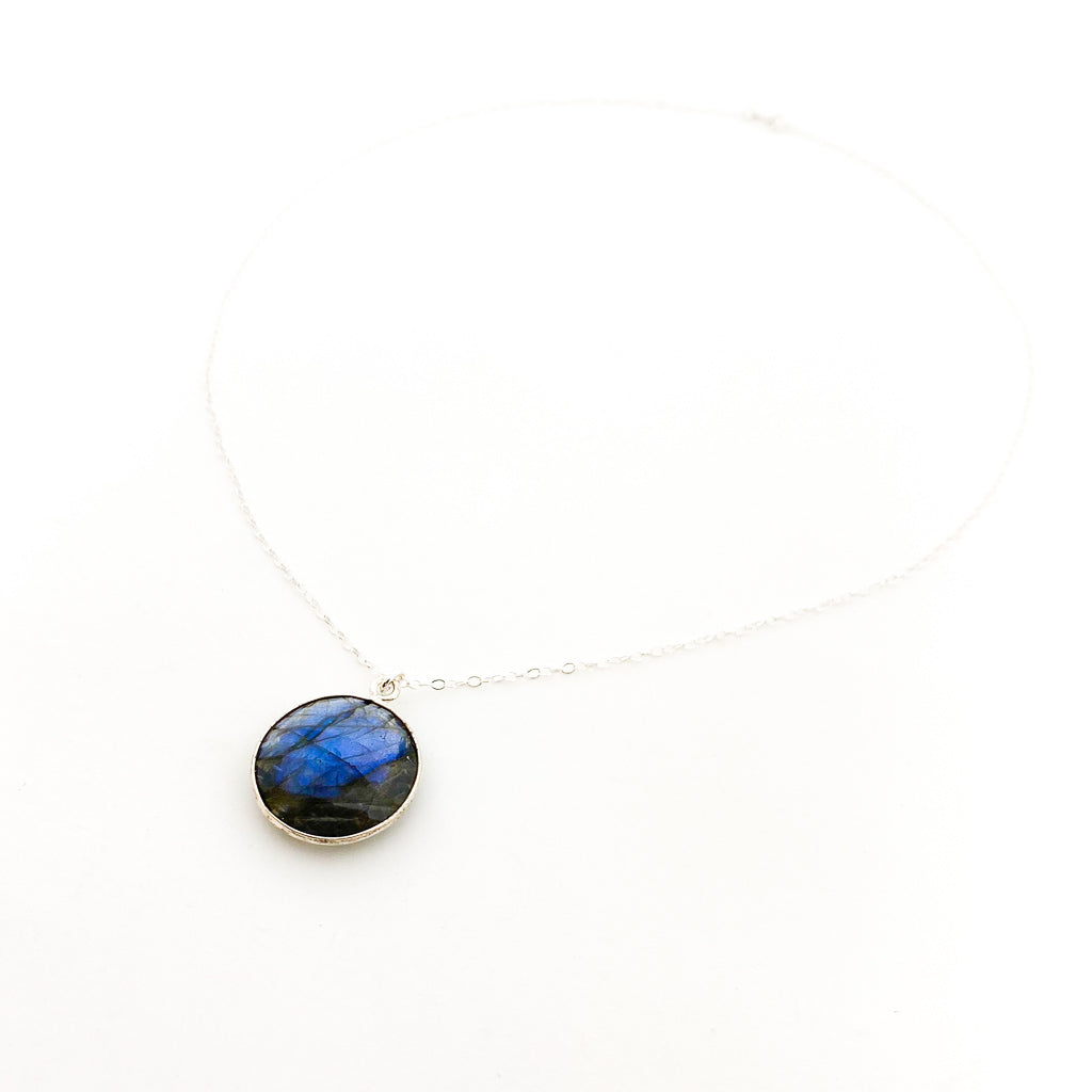 ROUND LABRADORITE STONE DROP NECKLACE | STERLING SILVER