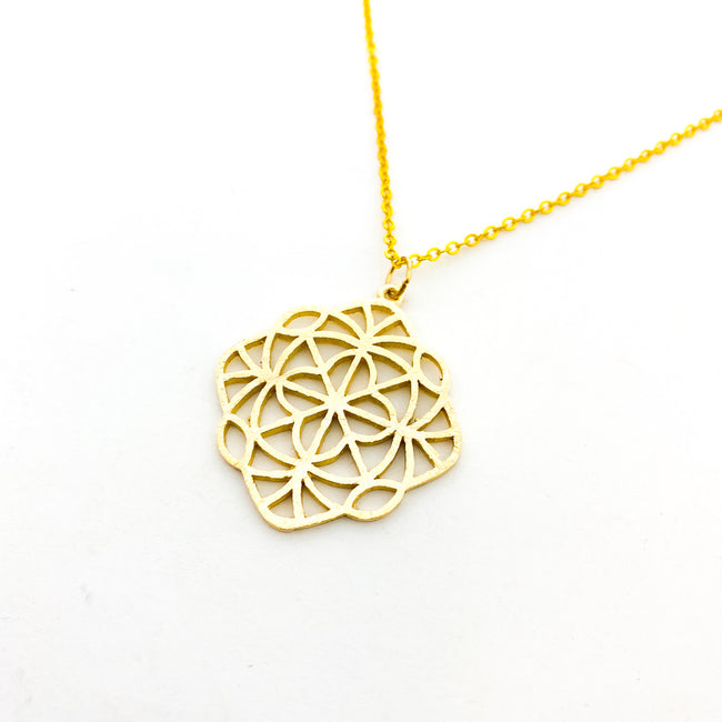 LARGE BRUSHED KALEIDOSCOPE NECKLACE | GOLD