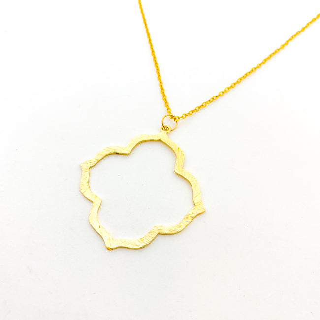 LARGE BRUSHED VAN CLEEF NECKLACE | GOLD